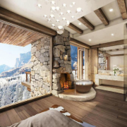 Cozy up in this ski retreat with a gorgeous view