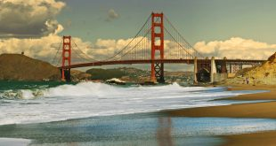 Panoramic view on Golden Gate bridge as seen from Baker Beach in